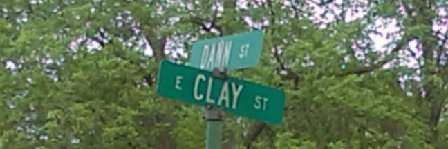 Dann Street and Clay Street Sign